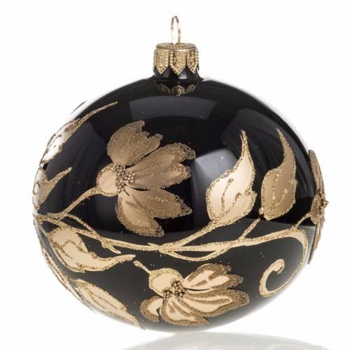 Pallina albero Natale vetro nero decori fiori oro diam 10cm s1