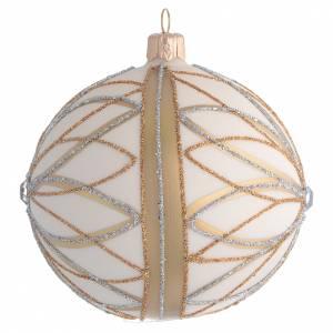 Pallina di Natale Panna oro argento 100 mm s2