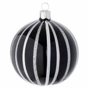 Pallina Natale vetro nero righe argento 80 mm s1
