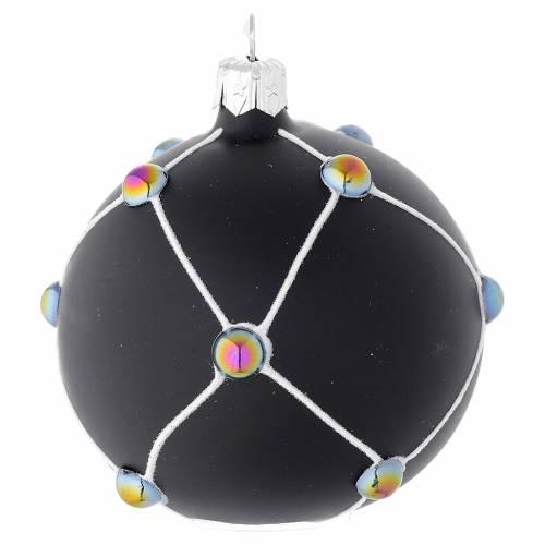 Pallina vetro nero satinato e pietre 80 mm s2