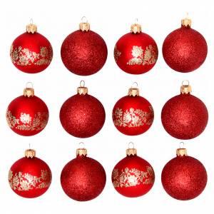 Palline di Natale: Palline vetro rosse 60 mm scatola 12 pz assortiti