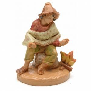 Figuras del Belén: Pastor con fuego estilo madera 6,5cm Fontanini
