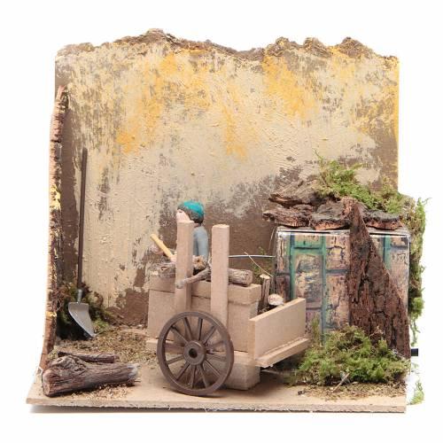 Pastor con madera 7cm movimiento Belén s1
