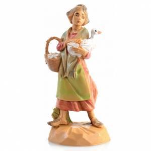 Statue per presepi: Pastorella con oche Fontanini 6.5 cm