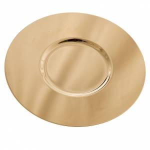 Cálices, Copones y Patenas metal: Patena de latón lisa con fondo diámetro 15cm