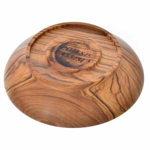 Patena de madera estacionada de olivo de Asís diámetro 10.5cm s3