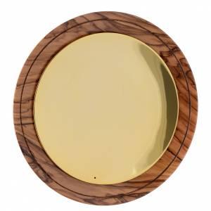 Calices Ciboires Patènes bois d'olivier: Patène assiette bois olivier Terre Sainte et laiton