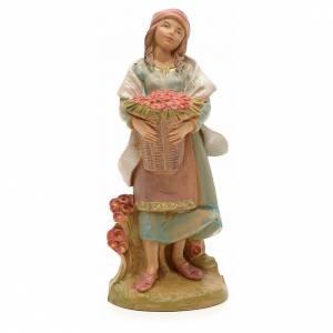 Paysanne et fleurs crèche Fontanini 12 cm s1