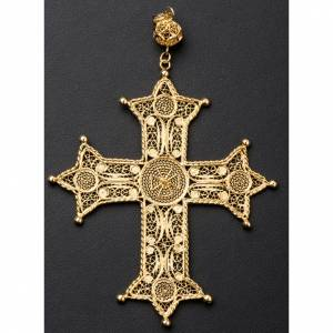 Pectoral cross, gold plated silver 800 filigree with decoration s6