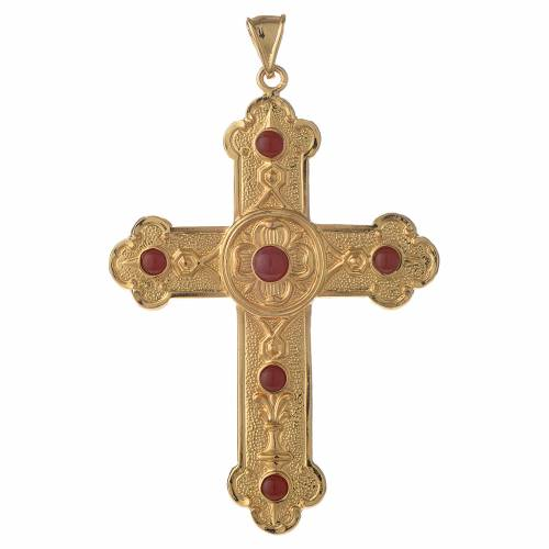 Pectoral cross in gold-plated sterling silver with synthetic stones s1