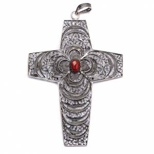 Bishop's items: Pectoral Cross in silver 800 filigree with coral stone