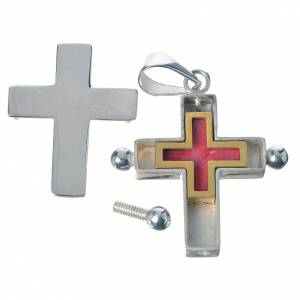 Pendant cross in 800 silver with relic case s3