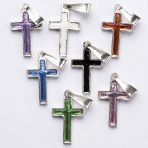 Pendant cross in silver and coloured enamel s3