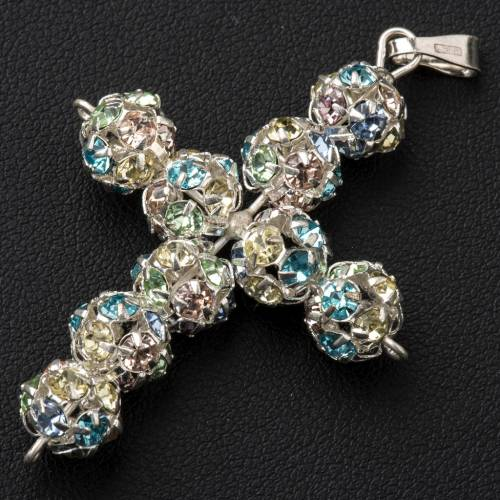 Pendant cross, multicoloured Swarovski ball diam. 0,31in s2