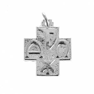 Pendant cross with Alpha Omega symbol in sterling silver 2cm s1