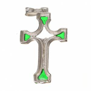 Pendant crucifix in silver and green enamel s2