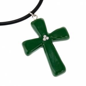 Pendenti croce ceramica: Croce verde con Swarovski