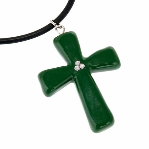 Croce verde con Swarovski s2