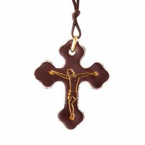 Pendenti vari: Pendente croce trilobata cuoio e cordino