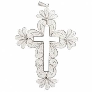 Pendente croce filigrana arg. 800 decori fiori - gr. 15,2 s1