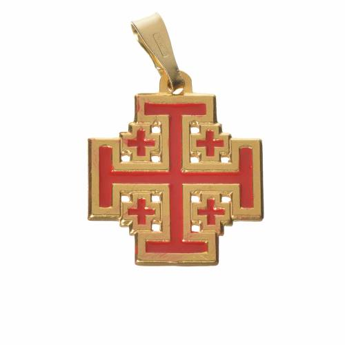 Pendente croce Jerusalem argento 800 smalto s1