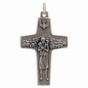 Pendenti croce metallo: Pendente croce Papa Francesco metallo 4x2.5 cm