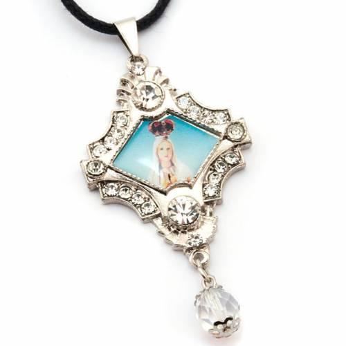 Pendente immagine Madonna perla vetro e strass s3