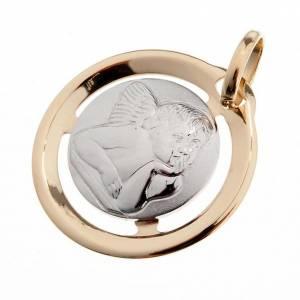Pendenti, croci, spille, catenelle: Angelo di Raffaello medaglia tonda oro 750/00 - gr. 1,3