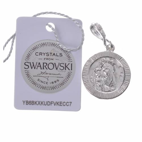 Pendentif arg. 800 et Swarovski blanc Pax s2