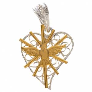 Pendentif coeur filigrane Saint Esprit argent 800 s1