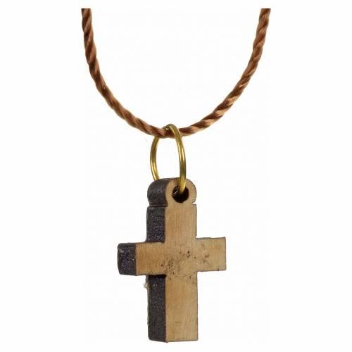 Pendentif croix bois Terre sainte et nacre bord vert s2