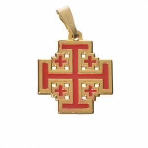 Pendentif croix Jérusalem argent 800 émail s1
