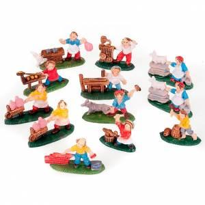 Figuras del Belén: Personajes varios colorados 12 pz. 3 cm.
