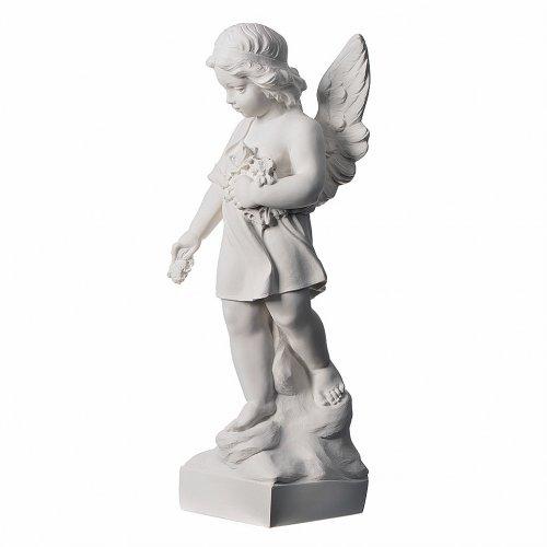 Petit ange avec fleurs marbre 60 cm s3
