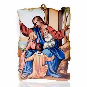 Petit tableau en bois Jésus et enfants parchemin s1
