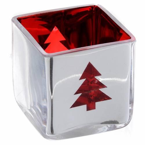 Photophore de Noël carré avec décor rouge s2