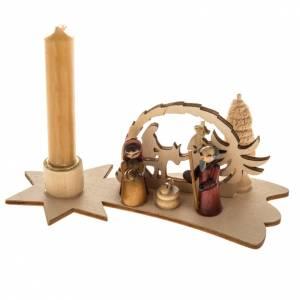 Piccolo presepe russo legno abete con candela s1