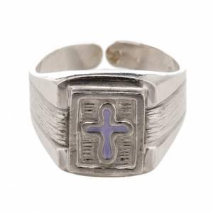 Akcesoria dla biskupa: Pierścień biskupi srebro 800 z emaliowanym krzyżem