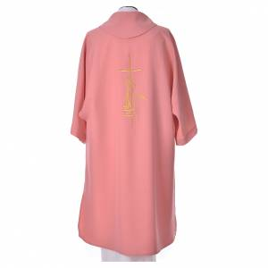 Pink Dalmatic 100% polyester cross, spike and flame s2