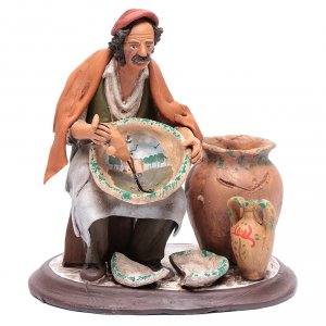 Belén terracota Deruta: Pintor sentado para belén 30 cm de terracota