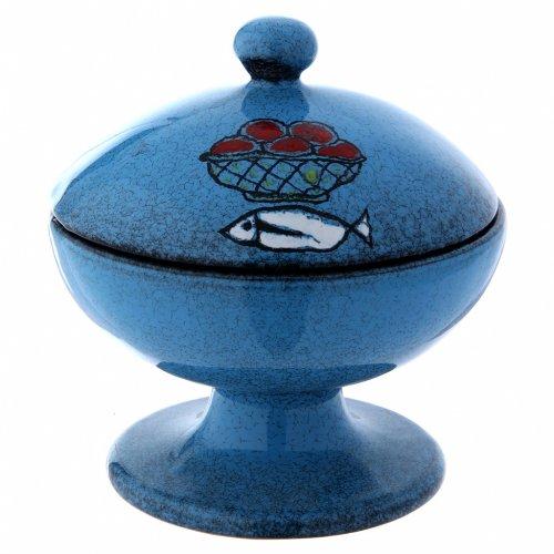 Pisside in ceramica blu con coperchio s1