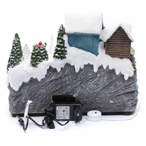 Pista da sci natalizia con albero in movimento 25x30x15 cm s5