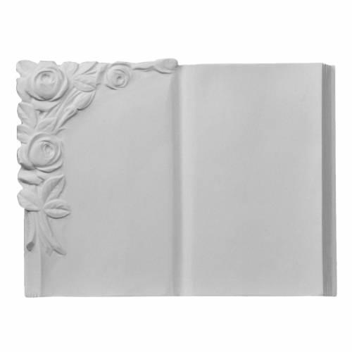 Plaque funéraire livre avec rosier en marbre synthétique s1