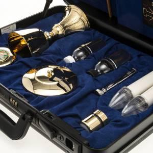 Bursy i zestawy podróżne dla księdza: Podróżny zestaw liturgiczny, walizka niebieskie wnętrze