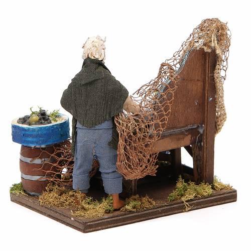 Poissonnier avec banc en bois 12 cm crèche napolitaine s3