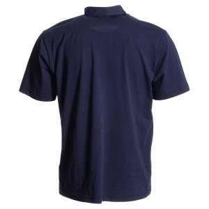 Polo collo clergy: Polo maglia clergy blu scuro 100% cotone