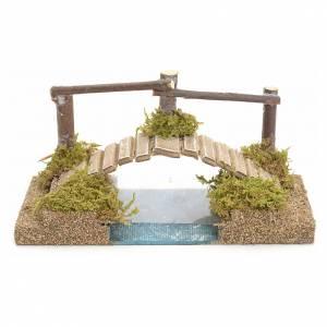 Ponte presepe, ruscelli, staccionate: Ponte sul fiume per presepe 9x17x9