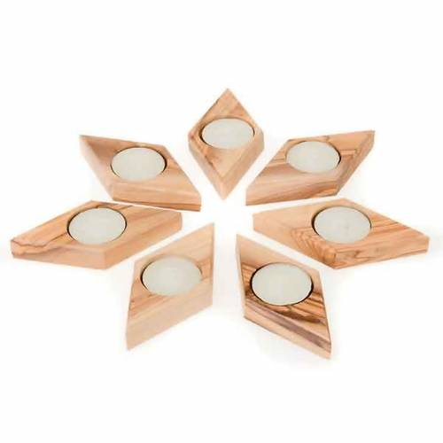 Portacandela legno olivo stella s3