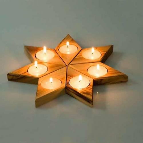 Portacandela legno olivo stella s2
