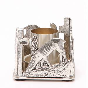 Candelieri metallo: Portacandela bronzo argentato cervi alla fonte